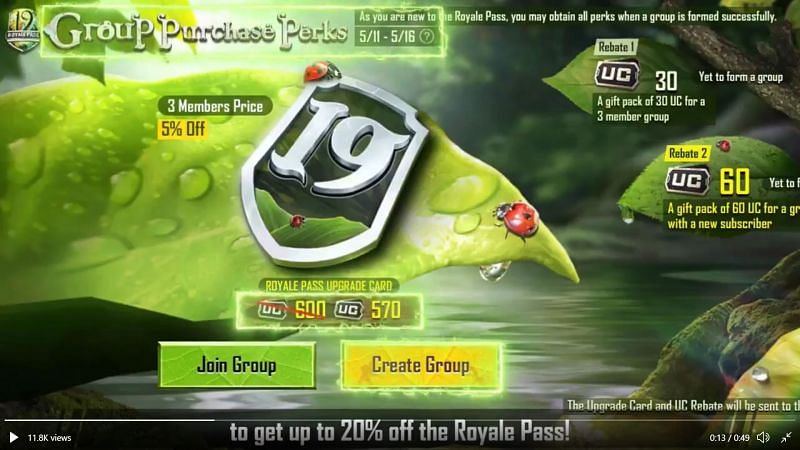 PUBG Mobile S19 Royale Pass In Discount