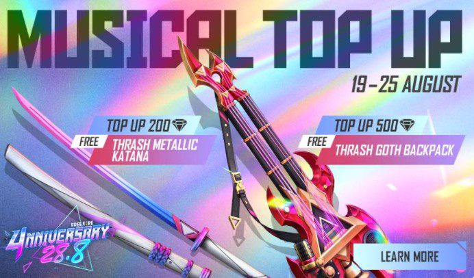 Free Fire 4th Anniversary Musical Top-Up Event
