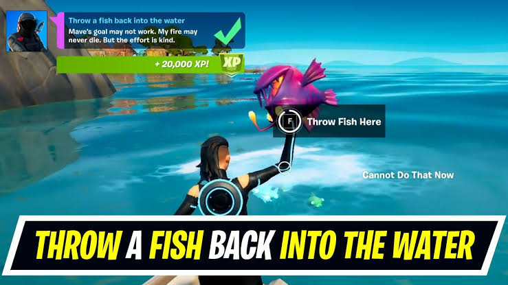Fortnite Challenge Throw Fish into the Water