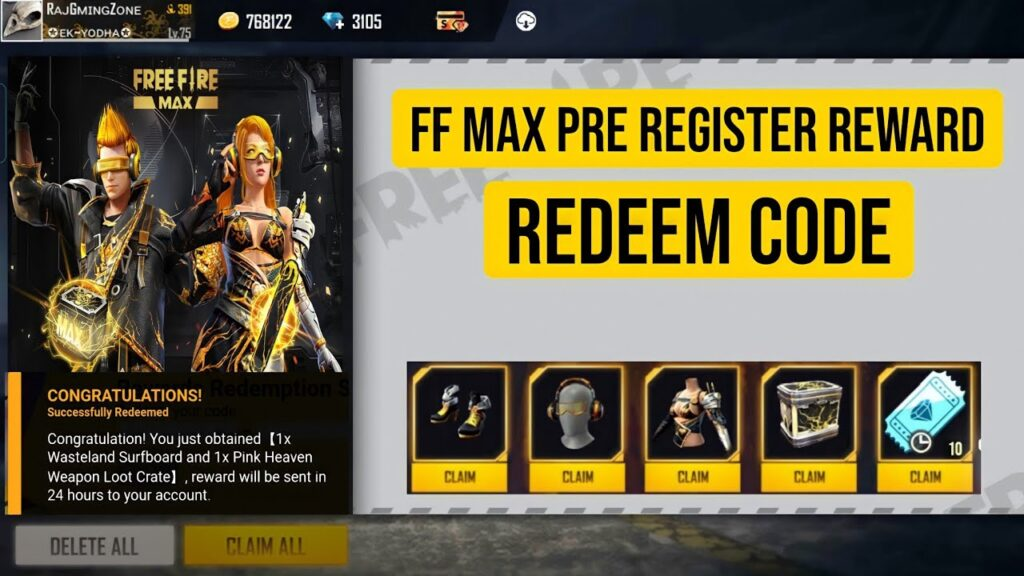 Free Fire Max Redeem Codes codeToday 2021